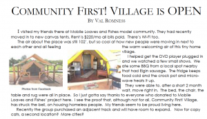 Community First! Village is Open